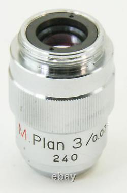 10826 Nikon 3x Microscope Objective Lens M Plan 3 / 0.07 240