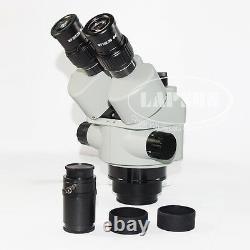 3.5X-90X Zoom Simul-focal Trinocular Stereo Microscope Set Objective Barlow Lens