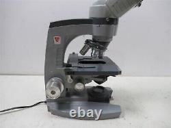 AO American Optical 10-8 Laboratory Binocular Microscope & 3 Objective Lenses