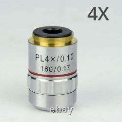 All Metal 195 Plan Achromatic Objective Lens 4X 10X 40X 100X for Bio-Microscope