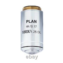 AmScope 100X (Spring, Oil) Infinity Plan Achromatic Microscope Objective Lens