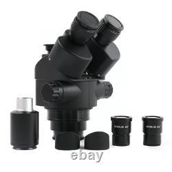 Black Trinocular Stereo Microscope Simul-Focal 3.5-90X Zoom Barlow Objective Len