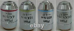 Compound Microscope 4X 10X 40X 100X Infinity Plan Achromatic Objective Lens Set