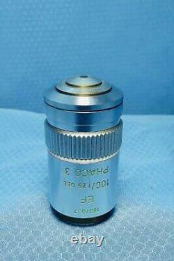 Leitz Phaco 3 Phase Contrast 100X Microscope Objective Lens 160mm