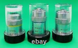 Lot Of Leitz German Microscope Plan Objectives Lens 10X, 20X, 40X (160mm)