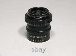 Microscope objective microplanar F=40 14,5 High Resolution lens, LOMO factory