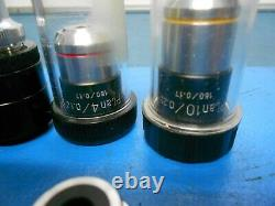Nikon 4/0.10 160/0.17 Microscope objective lens & other Lens Lot of 6