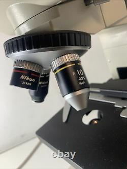 Nikon Alphaphot YS Microscope Binocular with 4 E Objective Lenses & Eyepieces