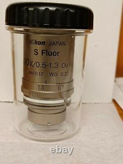 Nikon S Fluor 100x/0.5-1.3 Oil Iris Microscope Objective Lens