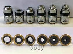 Olympus Microscope Objective lenses SPlan 6 pcs (x2, x4, x10, x20, x40, x100)