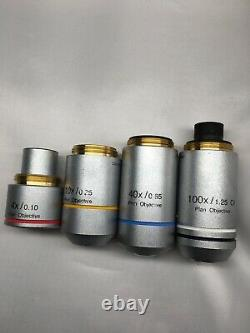 Set of 4 Olympus Microscope Infinite Objectives RMS Thread for CX22 CX23