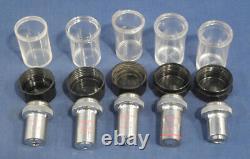 Unitron Microscope Objective Lens Set Phase Contrast 10x 20x 40x Oil 100x No. 4