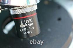 VINTAGE LOMO RUSSIAN MICROSCOPE With 4 LENS OBJECTIVES EAB-40-1 EAB-4-1 A Plan 10