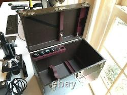 Vintage Leitz Microscope with four Objective Lenses and Case