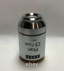 ZEISS Plan 2.5X/0.08 Microscope Objective Lens 160mm Part # 460132