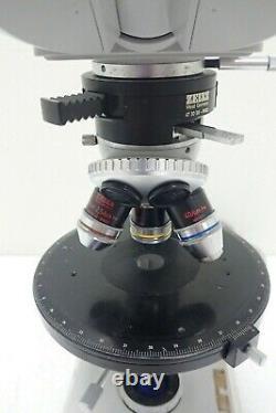 Zeiss Binocular Microscope with 3 Pol Objectives, Kpl-W10x Lens, 473059 Magnifier