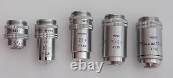 Ernst Leitz Ortholux Microscope Tournant Nosepiece Avec 5 Lentilles Objectives