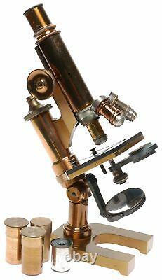 Leitz New York Microscope Laiton Vintage 3 Lentilles Objectives Rares