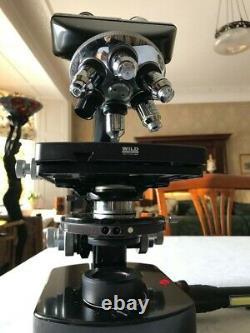 Microscope Wild Heerbrugg M20 Avec Contraste De Phase, 6 Lentilles Objectives Et 6v Psu