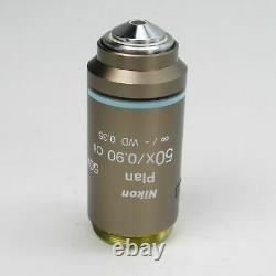 Nikon Plan 50x/0,90 Oil Wd 0.35 Cfi Infinity Éclipse Microscope Objectif Lentille